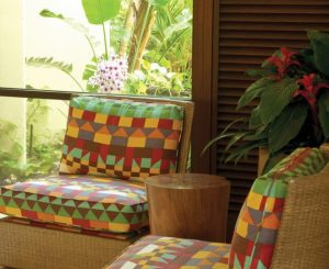 Reupholstered Cushions In Tropical Fabric