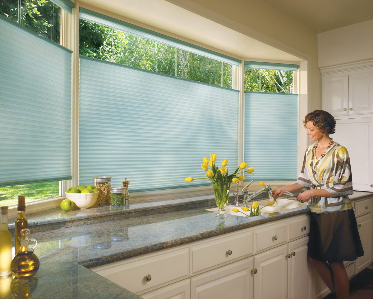Duette® Honeycomb Shades with Literise in Kitchen