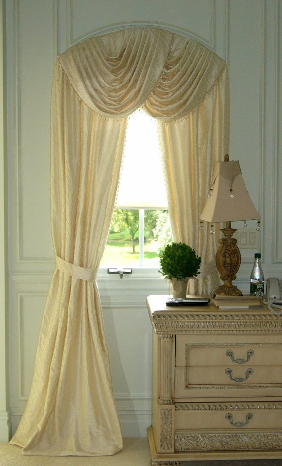 Arched Window Silk Swags and Panels