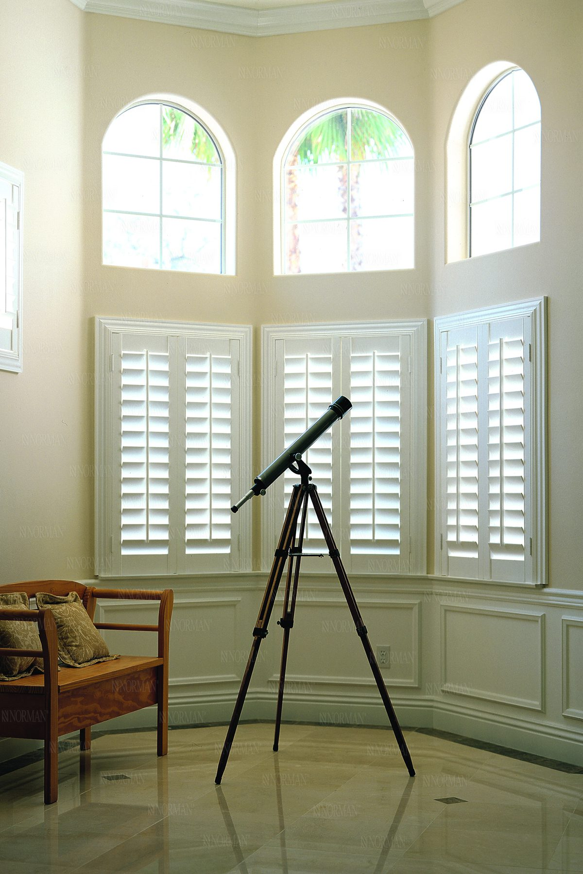Louvered Arch Woodlore Plus™ Shutters with Invisible Tilt Louvers