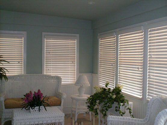 Performance™ Faux Wood Blinds in Family Room