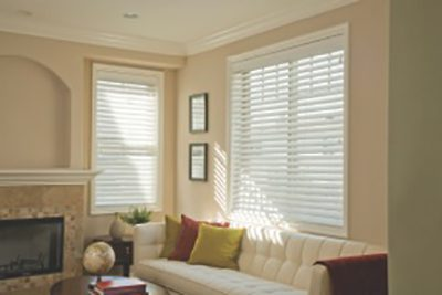 Performance™ Faux Wood Blinds featuring Smart Privacy & Designer Crown Valance