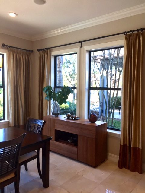 Pinch Pleat Drapes in Dining Room