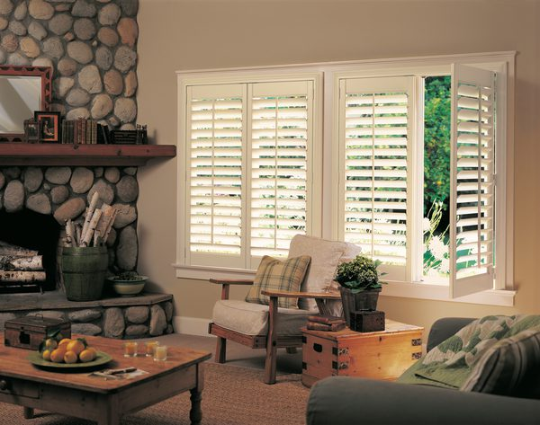 NewStyle® Hybrid Shutters with Front Tilt Bar in Living Room