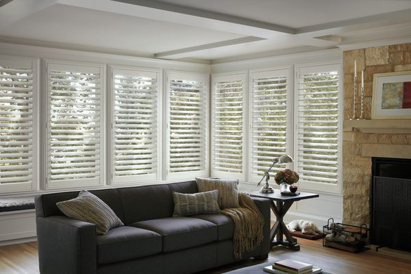 Louvered Shutters in Family Room