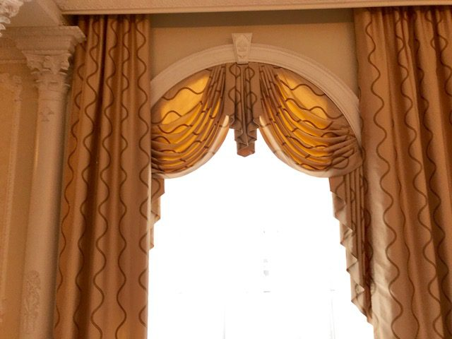 Drapery Panels, Swags & Jabots in Grand Ballroom of Country Club - SIngle Window