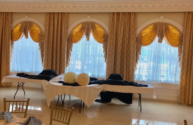 Drapery Panels, Swags & Jabots in Grand Ballroom of Country Club