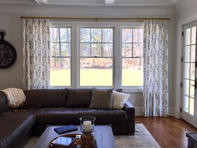 Fan Pleat Drapery Side Panels in Living Room