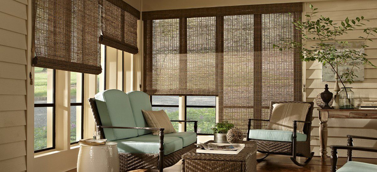 Alta Woven Wood Shades in Family Room