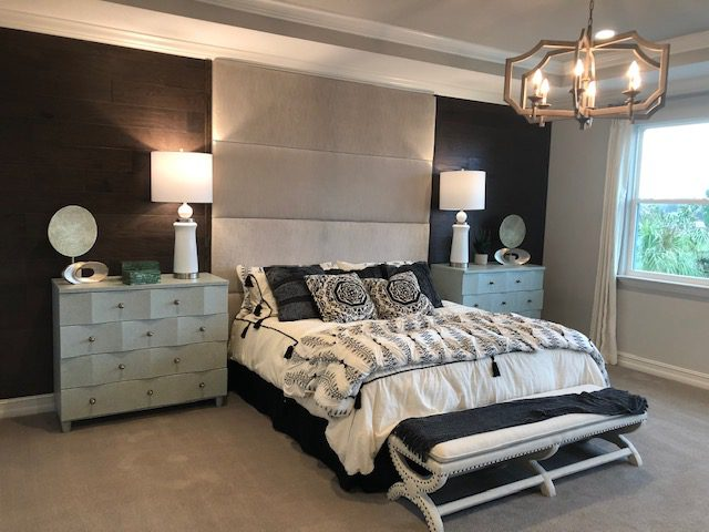 Custom Headboard & Bedding in Master Bedroom