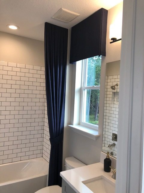 Valance and Panel in Bathroom