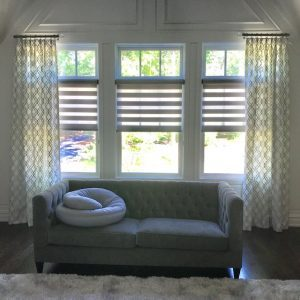Drapery Side Panels & Alta Dual Shades in Master Bedroom
