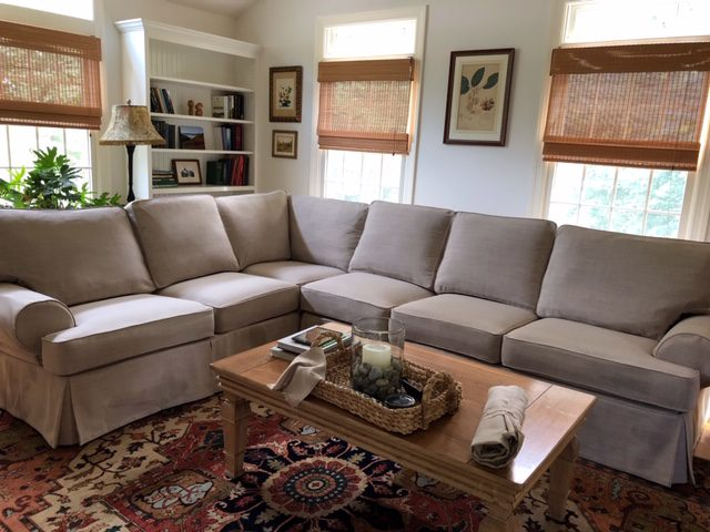 Slipcovers For Sectional Sofa in Family Room Using Washable Linen Fabric